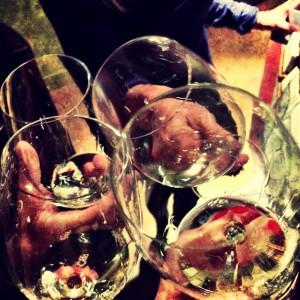 Enjoying wine tasting with dear friends...  Cheers!