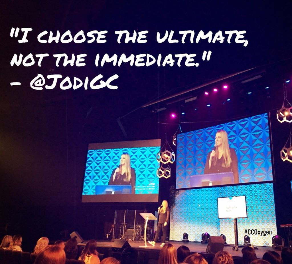I choose the ultimate, not the immediate. - Jodi Cameron